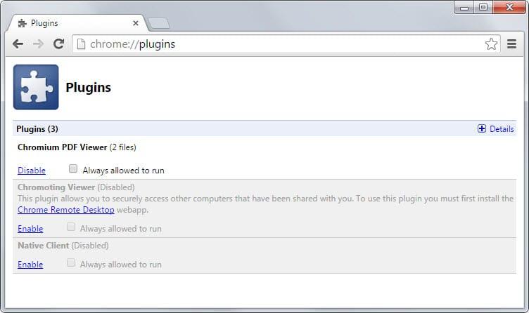 chrome plugin list