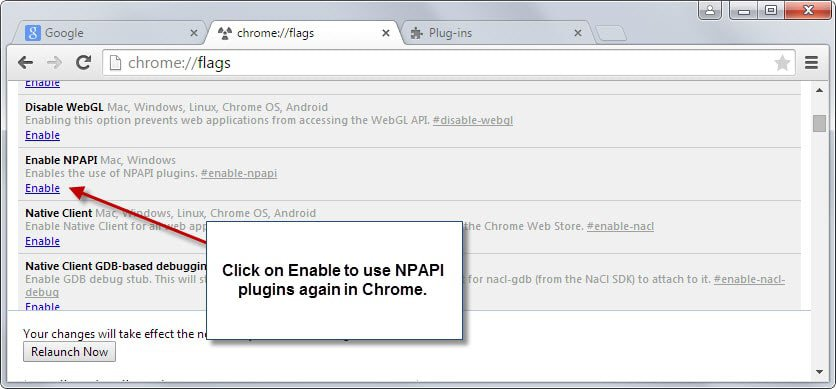 Chrome 42 blocks Java, Silverlight, other plugins by default now