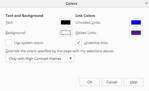 How to override website color schemes in Firefox