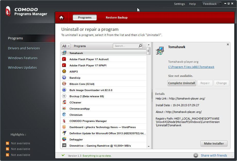 How thorough is Comodo Programs Manager's installation monitoring?
