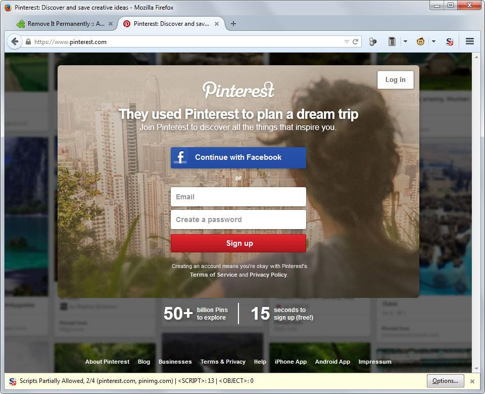 Unlimited Pinterest browsing without registration - gHacks Tech News