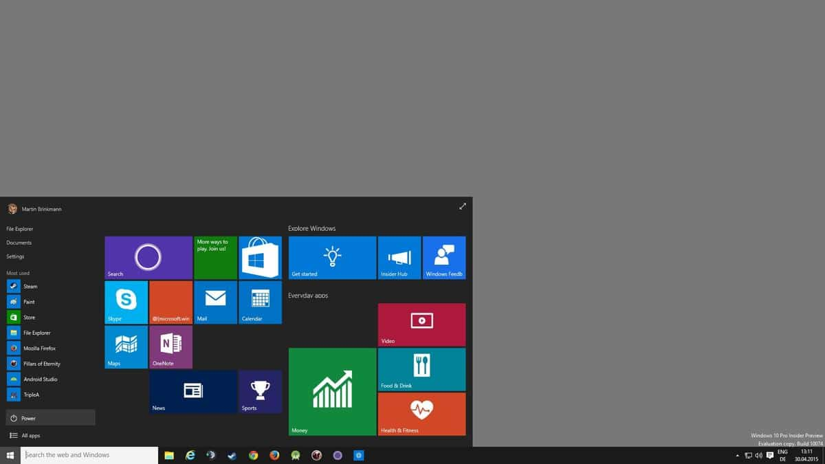 Windows 10 Insider Preview 10074 brings back Aero Glass