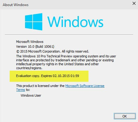 Windows 10 builds stop booting when they expire