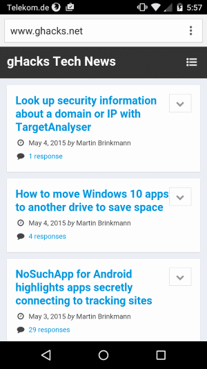 chrome dev scrolling android