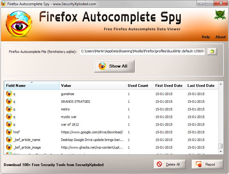 Firefox Autocomplete Spy displays all autocomplete entries of the