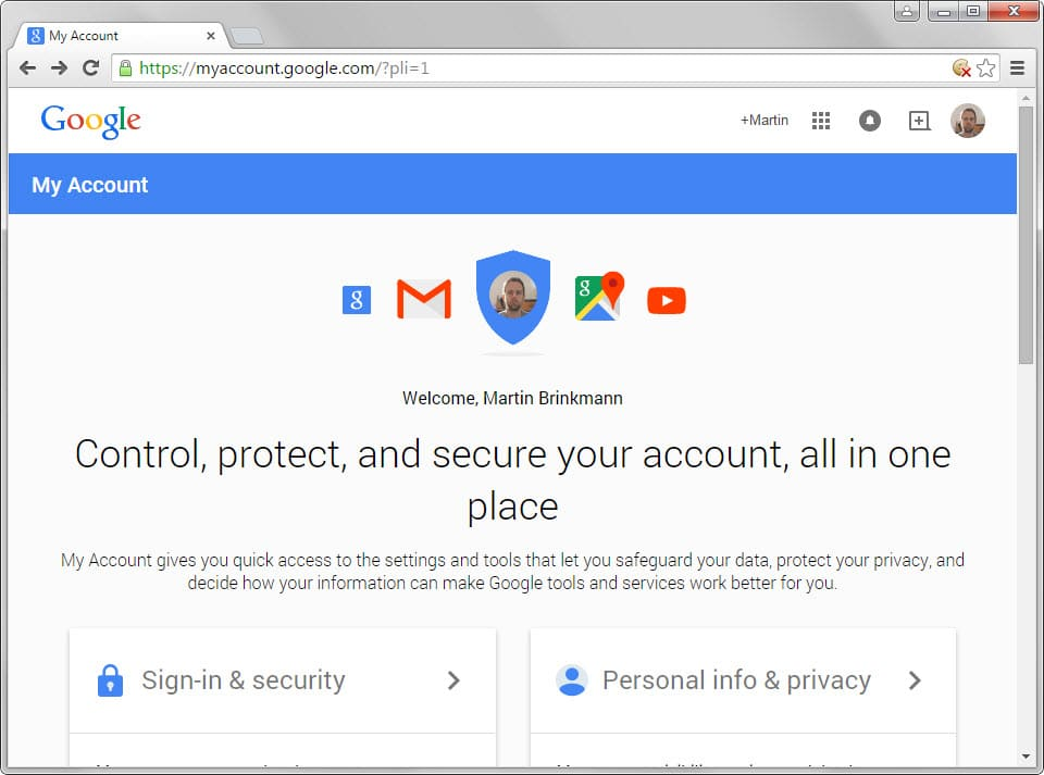 google new account management