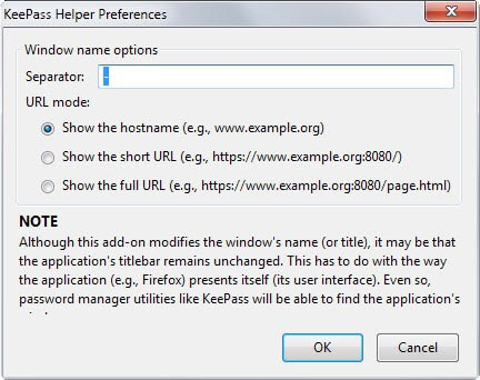 keepass helper options