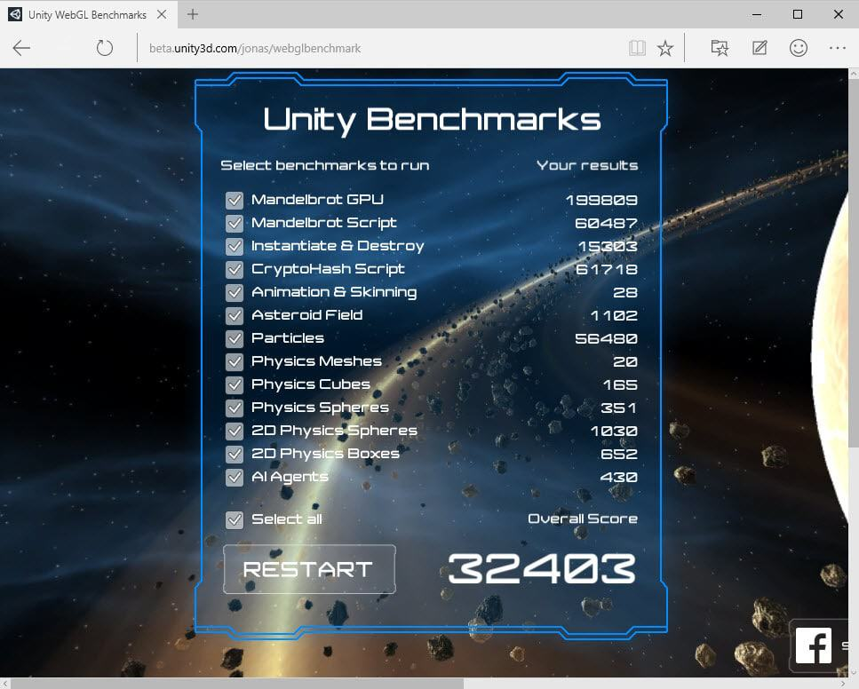 unity benchmark no asm
