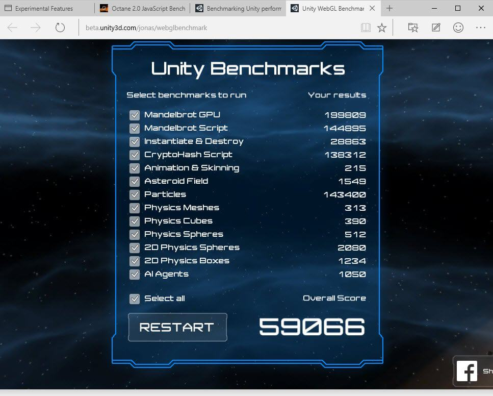 unity benchmark with asm