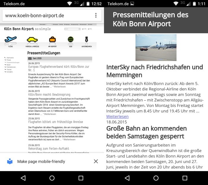 chrome make page mobile friendly