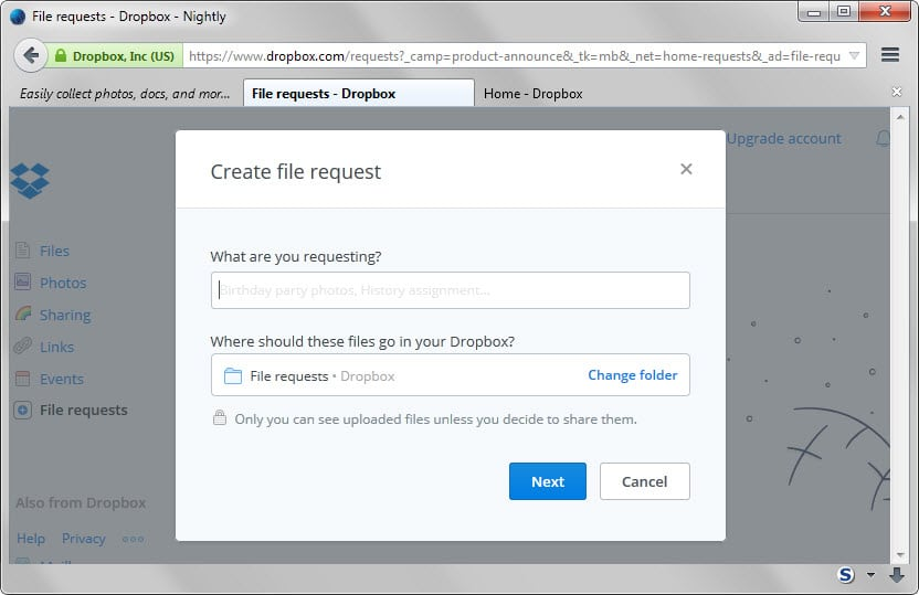 create file request