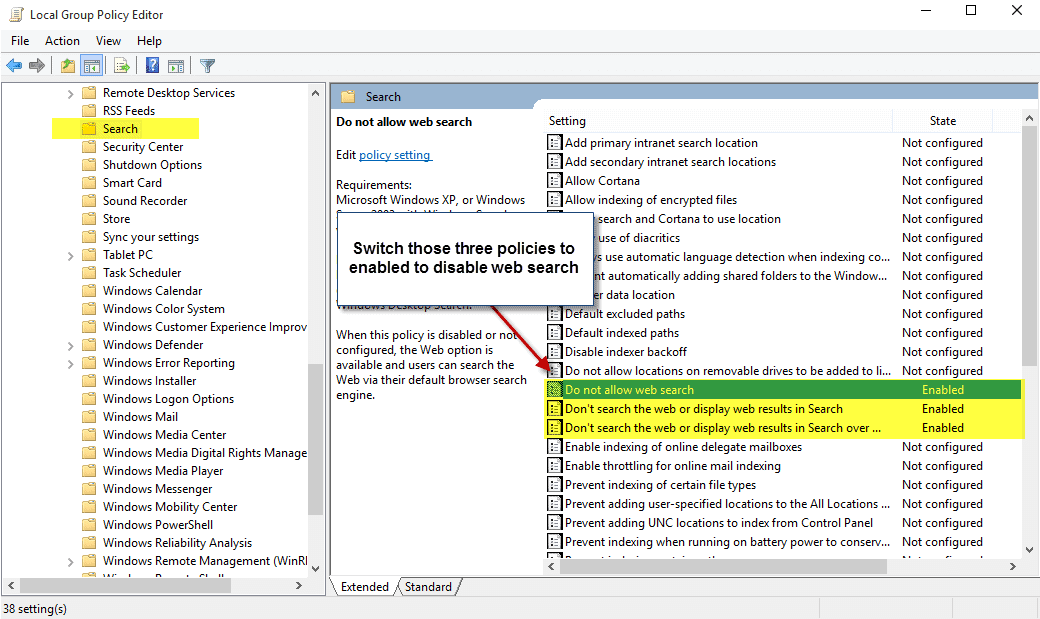 disable web search