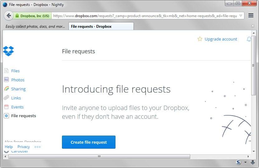 dropbox file requests