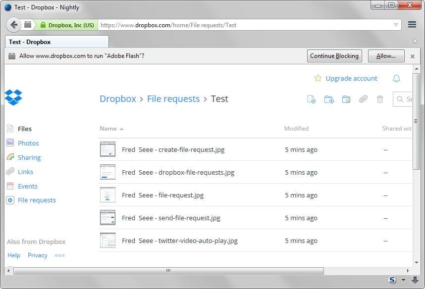 dropbox shared files