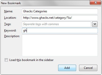 How to use dynamic bookmarks in Firefox