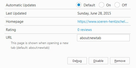 firefox new tab page override