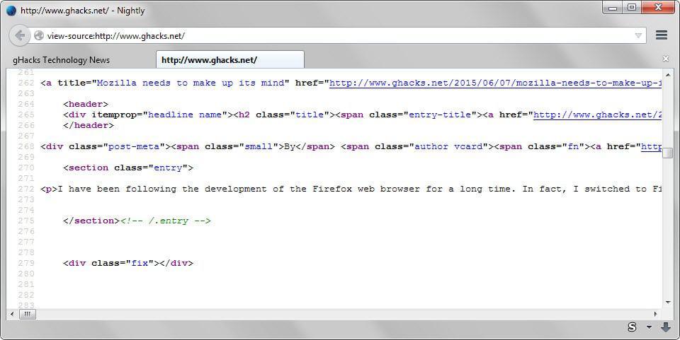firefox source code in tab