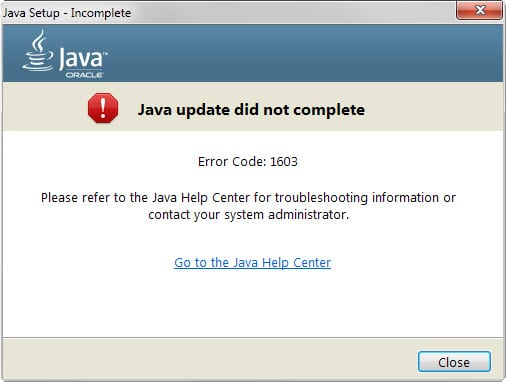 Fixing Java update did not complete Error Code: 1603