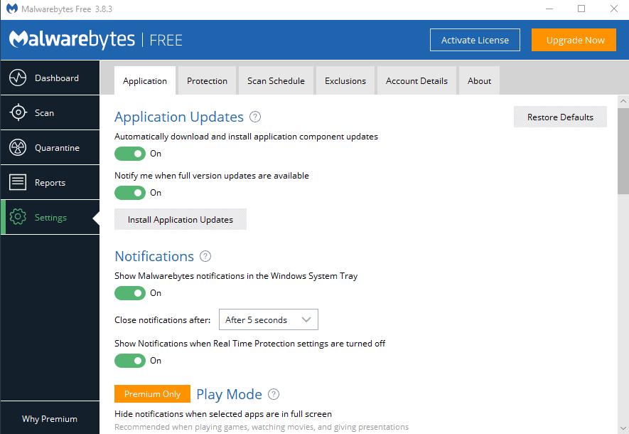 malwarebytes 3 application settings