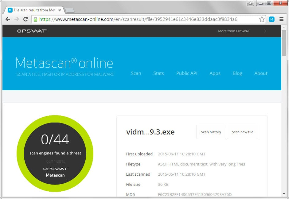 metascan online scanner chrome