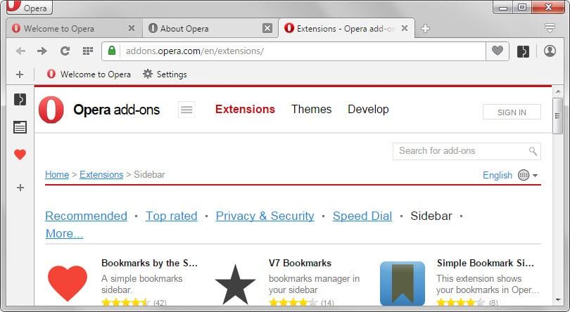 opera sidebar extensions