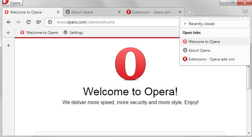 opera tab switching