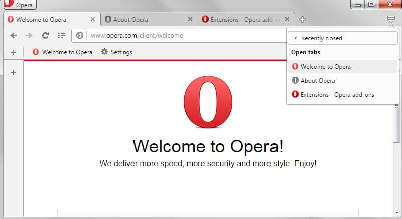 opera tab switching