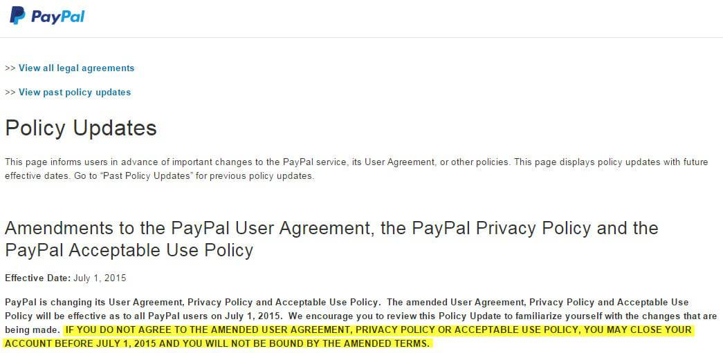 PayPal: accept robocalls and automated texts, or close your account