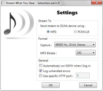 streaming settings