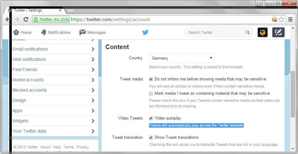 How to disable autoplaying videos on Twitter