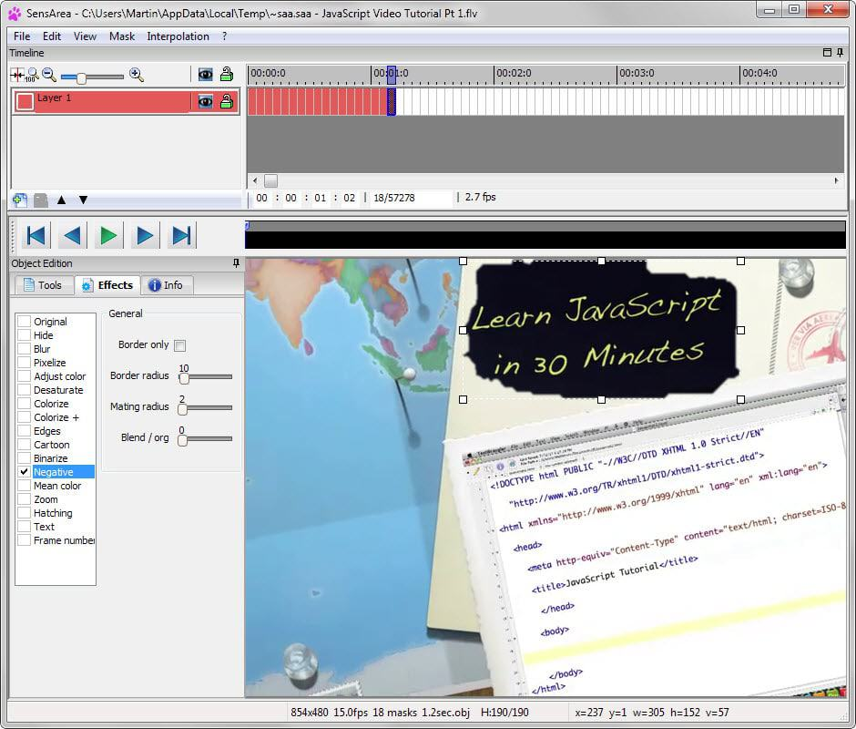 video editor track objects