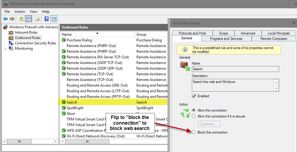 windows 10 search firewall