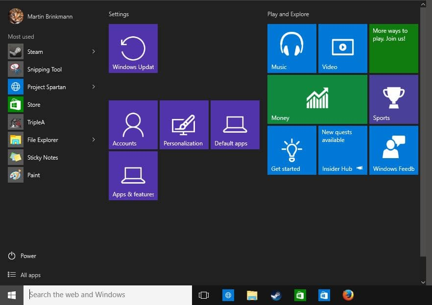 Pin Windows Settings to the Windows 10 Start Menu