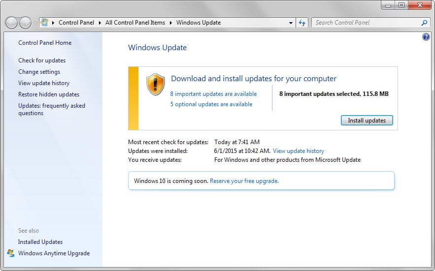 windows update june 2015