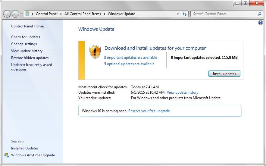 windows update june 2015