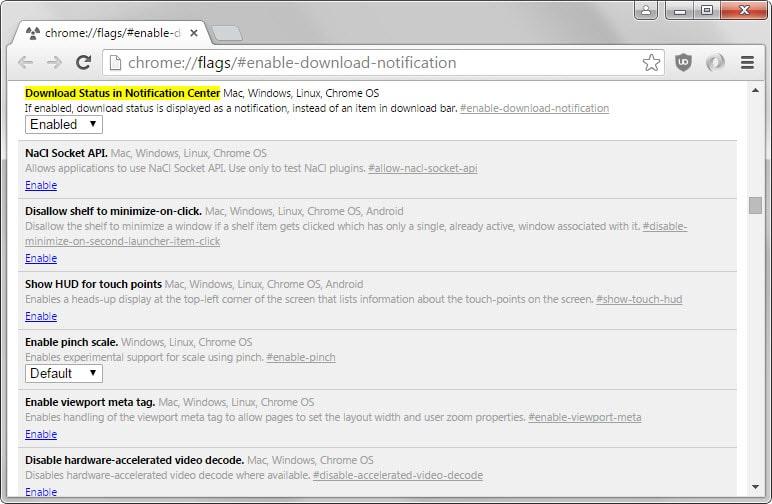 chrome download status