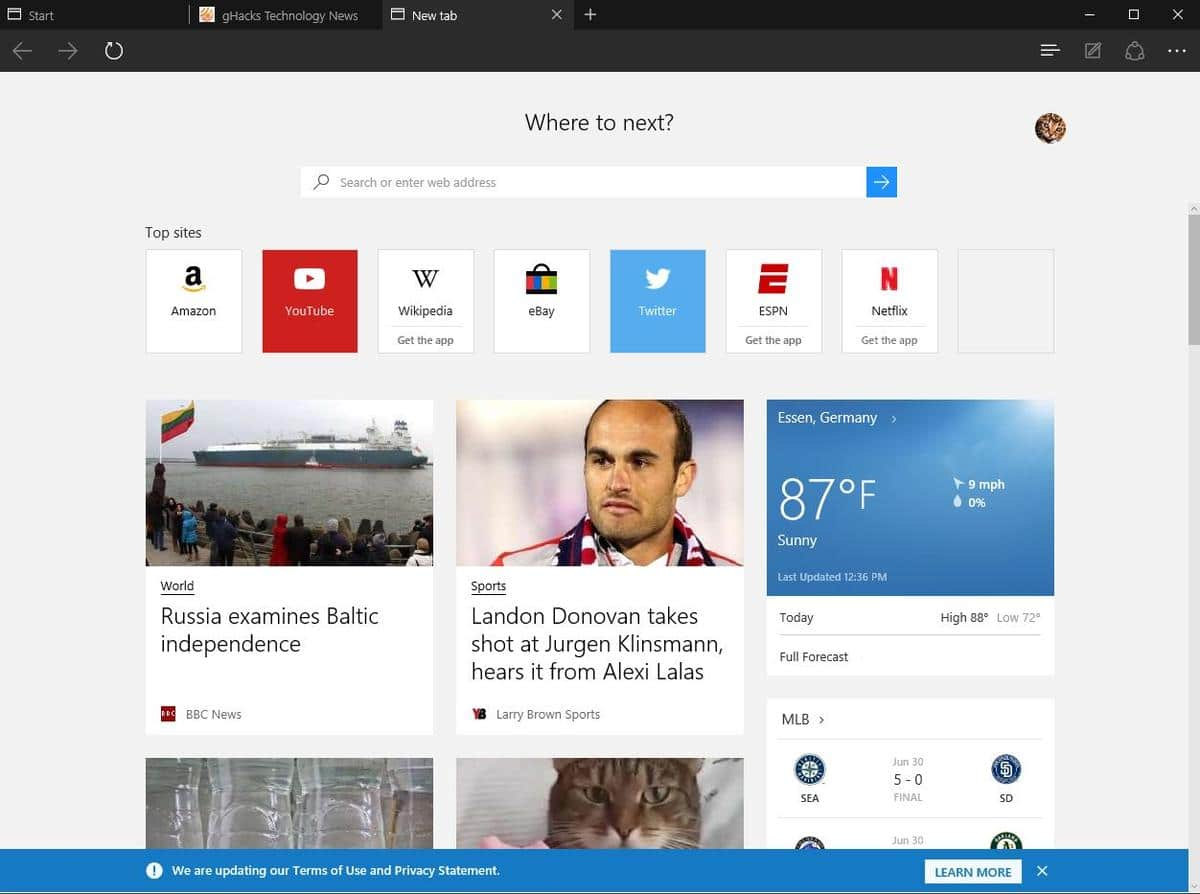 Microsoft Edge's New Tab Page is broken in its current form