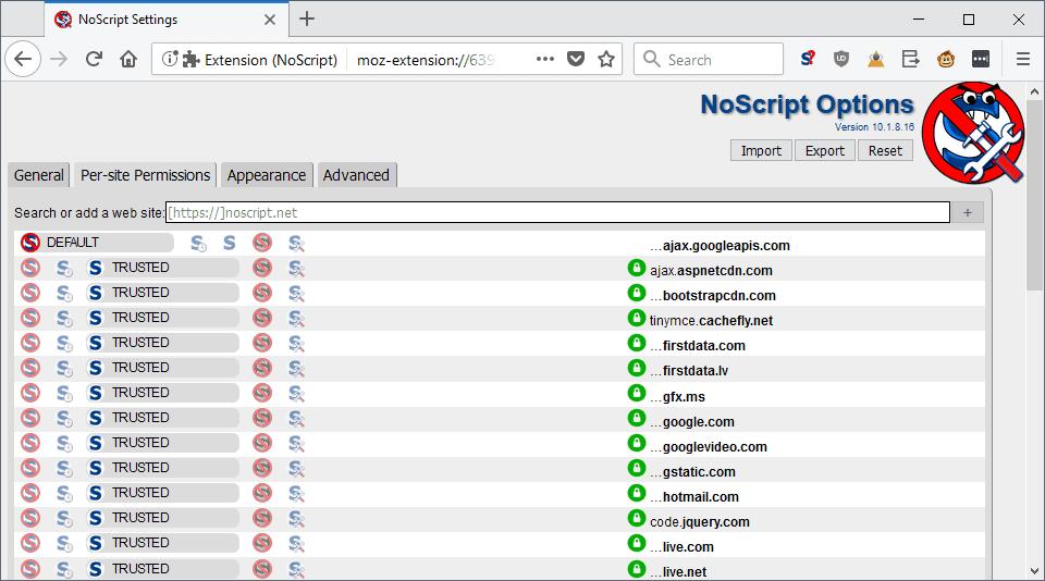 noscript whitelist