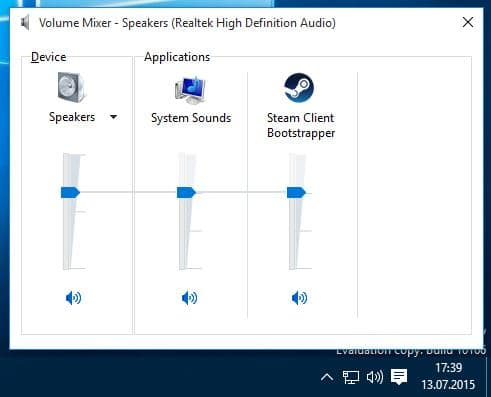 old volume control windows 10