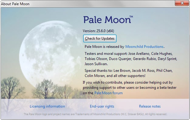 Pale Moon 25 6 ships with anti-fingerprinting option