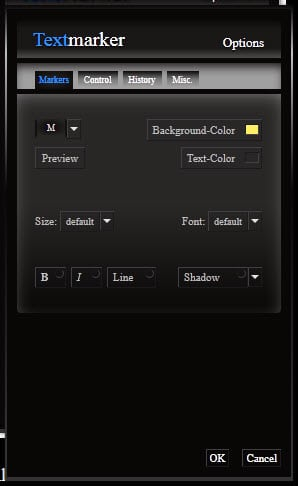 textmarker options 2