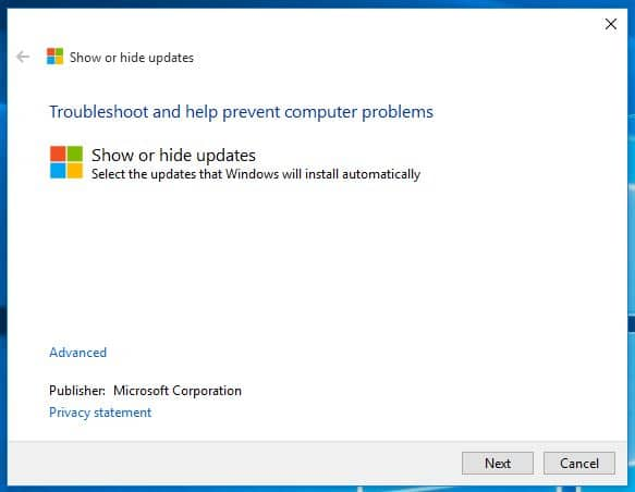 windows 10 show hide updates