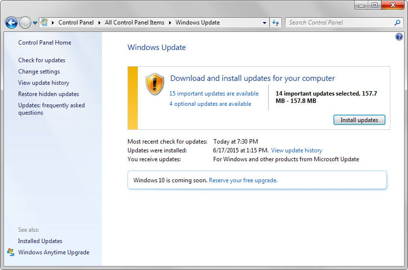 windows updates july 2015
