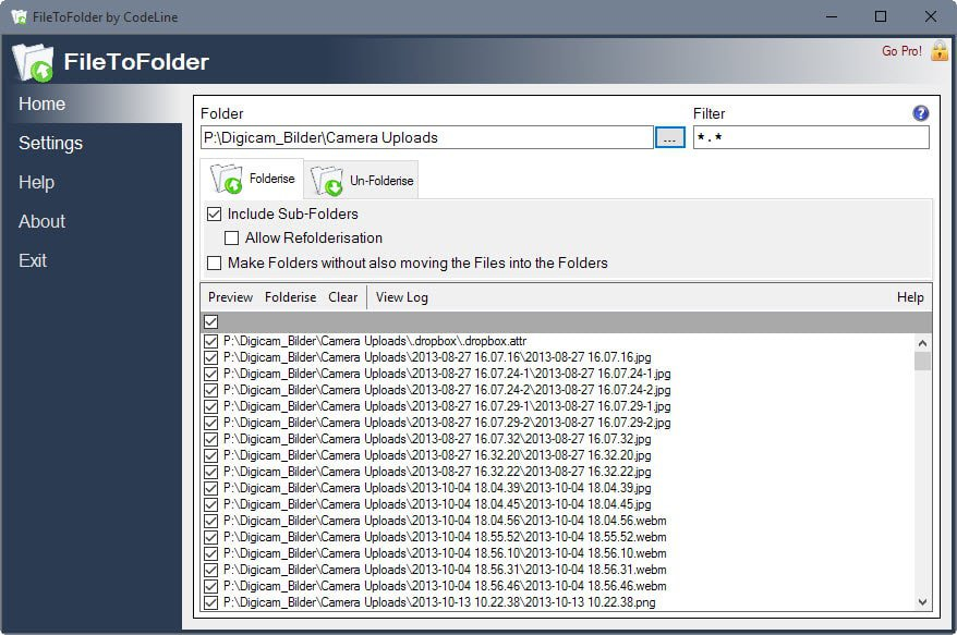 filetofolder interface