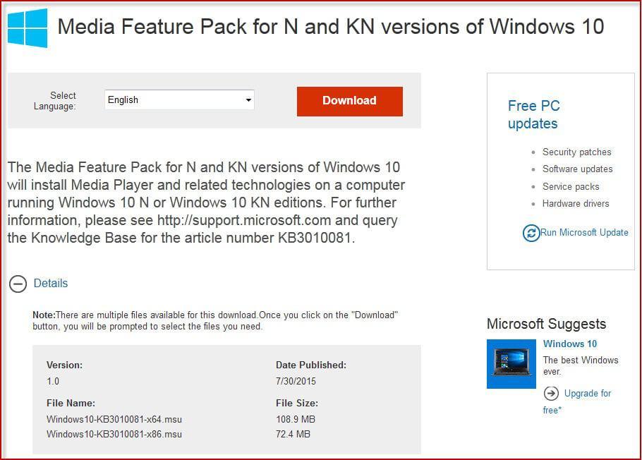 media feature pack windows 10