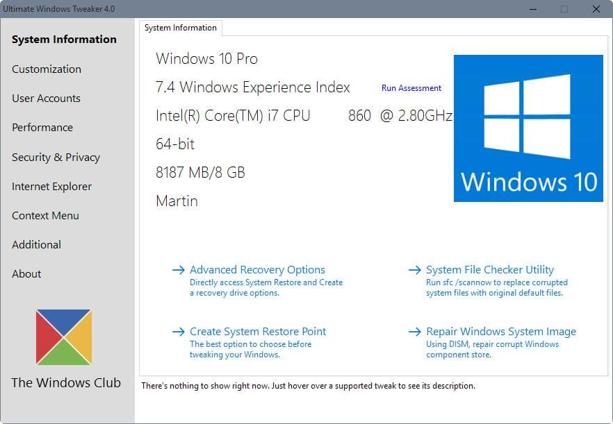 ultimate windows tweaker 4 for windows 10