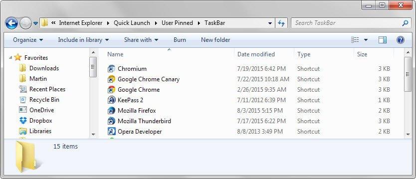 user pinned taskbar icons