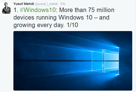 Windows 10 stats: 75 million devices, 6x more app downloads per device