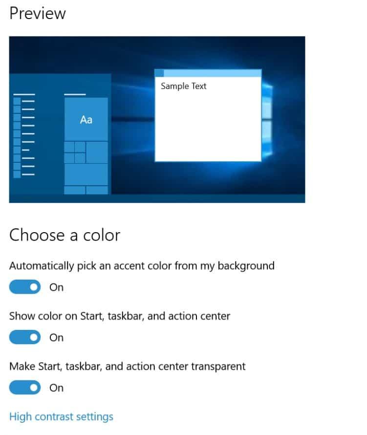 windows 10 title color