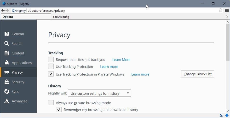 firefox tracking protection blocklist